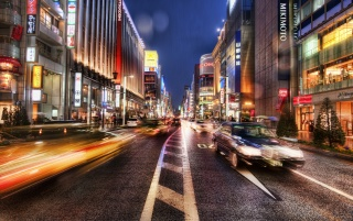 Ginza in the rain wallpapers and stock photos