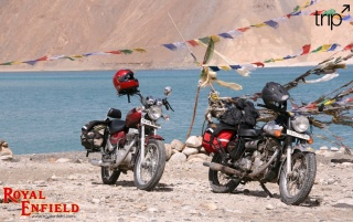 Two Royal Enfield motorbikes wallpapers and stock photos