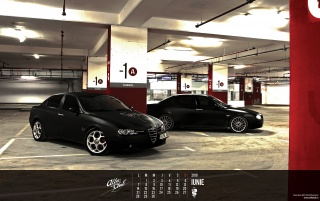 Alfa Romeo 156 matte black wallpapers and stock photos