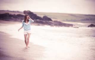 Walking on the Beach wallpapers and stock photos