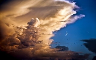 Moon and Venus over Spain wallpapers and stock photos