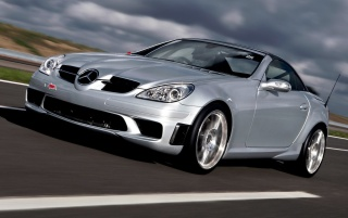 SLK 55 AMG front wallpapers and stock photos