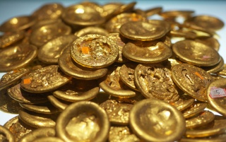 Chinese Gold Coins wallpapers and stock photos