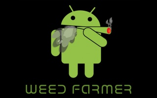 Android Smoking a Joint on Bla wallpapers and stock photos