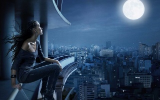 Chica y la luna wallpapers and stock photos