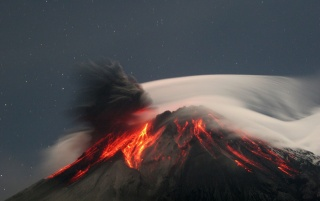 Mist over volcano wallpapers and stock photos
