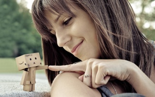 Girl and small robot wallpapers and stock photos