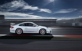 White Porsche side view wallpapers and stock photos
