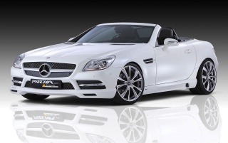 White SLK front angle wallpapers and stock photos