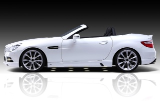 White SLK side view wallpapers and stock photos