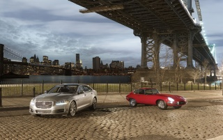 Jaguar E series under bridge wallpapers and stock photos