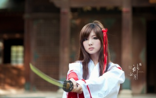 Girl with samurai sword wallpapers and stock photos