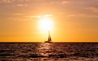 Sunset at sea wallpapers and stock photos