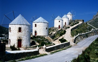 Windmills - Greece wallpapers and stock photos