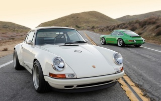 Singer Porsche 911 White and Green wallpapers and stock photos