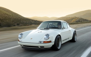 White Singer Porsche 911 Close-up wallpapers and stock photos
