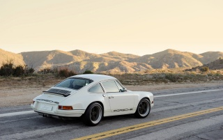 White Singer Porsche 911 Side wallpapers and stock photos
