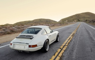 White Singer Porsche 911 Rear wallpapers and stock photos