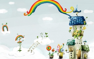 Rainbow House wallpapers and stock photos