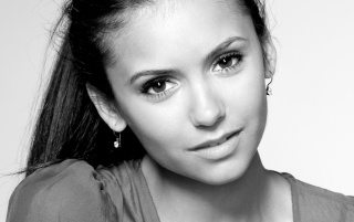 Nina Dobrev Black and White Closeup wallpapers and stock photos