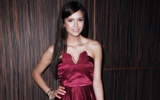 Nina Dobrev Red Dress wallpapers and stock photos