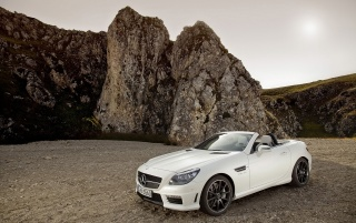 Mercedes Benz SLK 55 AMG Front And Side wallpapers and stock photos
