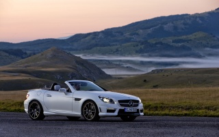 Mercedes Benz SLK 55 AMG Right Side wallpapers and stock photos