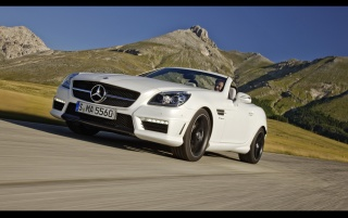 Mercedes Benz SLK 55 AMG On The Road wallpapers and stock photos