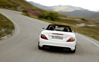 Mercedes Benz SLK 55 AMG Rear Speed wallpapers and stock photos