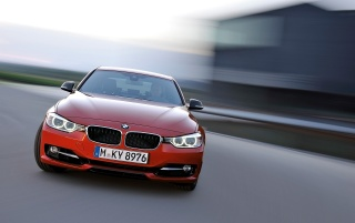 Red BMW 3 Series Sedan Sport Line Front Speed wallpapers and stock photos