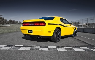 2012 Dodge Challenger SRT8 392 Yellow Jacket Rear Angle wallpapers and stock photos