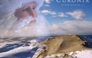 Santa Clause in the Grey dunes wallpapers and stock photos