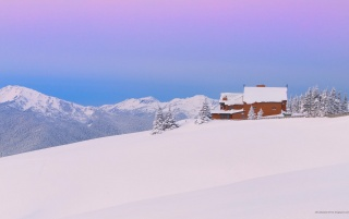 Mountain Winter Chalet wallpapers and stock photos