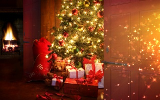 Christmas tree and presents wallpapers and stock photos
