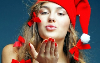 A kiss from Santa girl wallpapers and stock photos