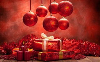 Red globes and presents wallpapers and stock photos