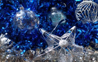Silver and blue ornaments wallpapers and stock photos