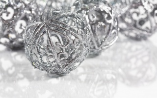 Silver Christmas globes wallpapers and stock photos