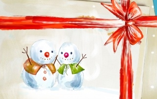 Two painted snowmen wallpapers and stock photos