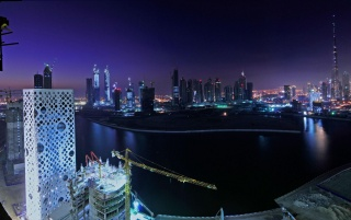 Downtown Dubai at Night wallpapers and stock photos