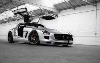 Mercedes Benz SLS AMG Silver Wing Front wallpapers and stock photos