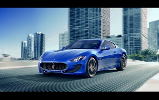 2012 Maserati GranTurismo Sport Right Angle Speed wallpapers and stock photos