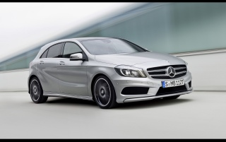 2012 Mercedes-Benz Grey A Class Front and Side Speed wallpapers and stock photos