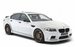 2012 White Hamann BMW M5 Studio Side Angle wallpapers and stock photos