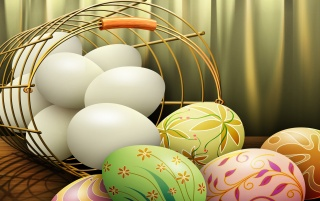 White and colorful Easter eggs wallpapers and stock photos