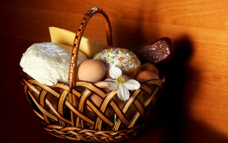 Easter basket with goodies wallpapers and stock photos