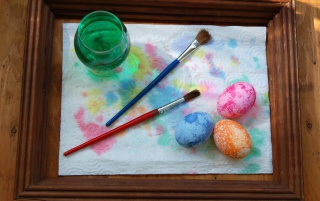 Painted eggs and brushes wallpapers and stock photos