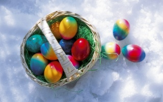 Easter eggs in the snow wallpapers and stock photos