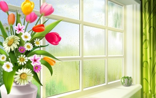 Spring window wallpapers and stock photos