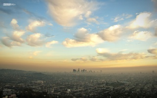 Downtown Los Angeles from Griffith wallpapers and stock photos